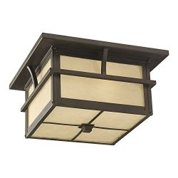 Sea Gull Lighting 78880-51 Medford Lakes Two-Light Outdoor Flush Mount Ceiling Light with Etched ...