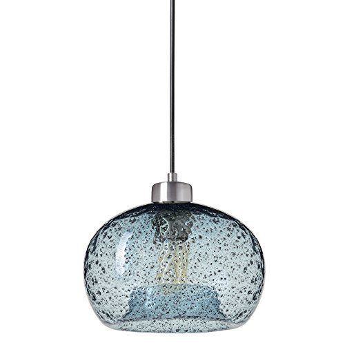 Casamotion Pendant Light Handblown Glass Drop Ceiling Lights, Rustic Hanging Light Seeded Glass  ...