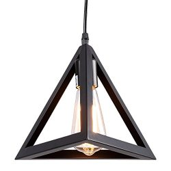 HOMIFORCE Vintage Style 1 Light Black Cone Pendant Light with Metal Shade in Matte-Black Finish- ...