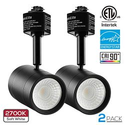 2 Pack 8.5W (50W Equiv.) Integrated CRI90+ LED Black Track Light Head, Dimmable 38° Spotlight Tr ...