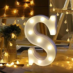 Sagton Remote Control Alphabet Letter Lights, Remote Control LED Light Up White Plastic Letters  ...