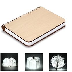 BestOpps Wooden Foldable LED Nightlight Book Style Rechargeable Folding Desk Lamp Table Lamp USB ...