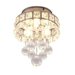 SX-ZZJ Indoor Lighting Mini Style 3-Light Chrome Finish Crystal Chandelier Pendent Light for Hal ...