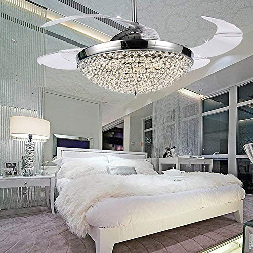 COLORLED Crystal LED Ceiling Fans Light-42 Inch Transparent 4 Blades Mordern Fan Chandelier-for  ...