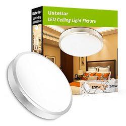 Ustellar 1000lm 12W LED Ceiling Lights,100W Incandescent Bulbs Equivalent, 10in LED Flush Mount  ...