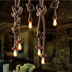 Hemp Rope Light,ASDOMO Hemp Rope Industrial Hanging Light Vintage Retro Ceiling Light E27 4.0cm  ...