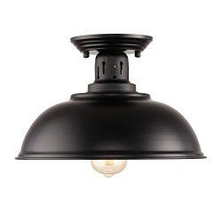 HMVPL Upgraded Industrial Close to Ceiling Light, Vintage Farmhouse Flush Mounted Lighting Fixtu ...