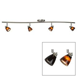 Direct-Lighting 4 Light Adjustable Track Light, Brushed Steel Finish, Brown Glass Shade, Ready t ...
