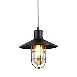 LNC A01910 Cage Indoor Light Hanging Lamp Use E26 Bulb Ceiling Pendant Fixtures, Black