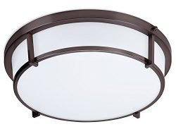 LB72112 LED Flush Mount Ceiling Light, Oil Rubbed Bronze 17-Inch 3000K, Dimmable, 1600 Lumens, L ...