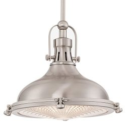 Kira Home Beacon 11″ Transitional Pendant Light with Fresnel Lens, Brushed Nickel Finish