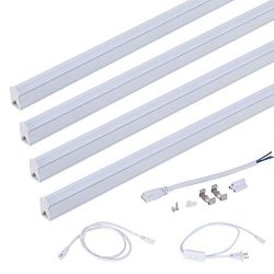 (Pack of 4) ONLYLUX LED T5 Integrated Single Fixture, 4FT, 18W, 4000K(Daylight Glow), Utility Sh ...