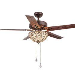 RainierLight Classical Crystal Ceiling Fan Lamp LED Light for Bedroom/Living Room Hotel/Restaura ...