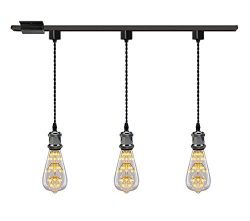 Kiven 1-Light H System Track Mini Pendant, Pearl Black Finish Lamp Holder Fitting Track Light Ki ...