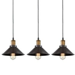 CLAXY Ecopower Industrial Edison Mini Oil Rubbed Bronze Pendant Light 3 Pack