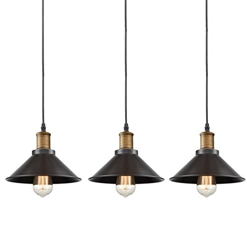Leonlite 3 Pack Industrial Pendant Lighting For Kitchen: CLAXY Ecopower Industrial Edison Mini Oil Rubbed Bronze