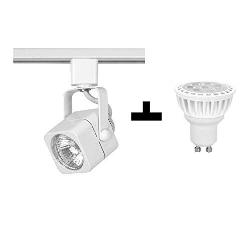 1 Nuvo TH312 Mr16 Square White Track Head Fixture Plus + 1 Pyramid Bulbs P64971 LED Bulb 5000