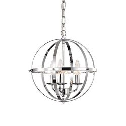 LaLuLa Chrome Chandelier Lighting Industrial Globe Chandeliers 3 Light Metal Ceiling Light Fixtu ...