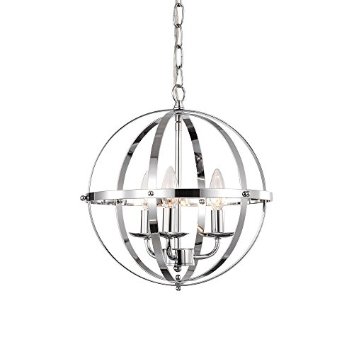 LaLuLa Chrome Chandelier Lighting Industrial Globe Chandeliers 3 Light Metal Ceiling Light Fixtu ...
