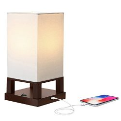 Brightech Maxwell LED USB Side Table & Desk Lamp – Modern Asian Style Lamp with Wood Frame & ...