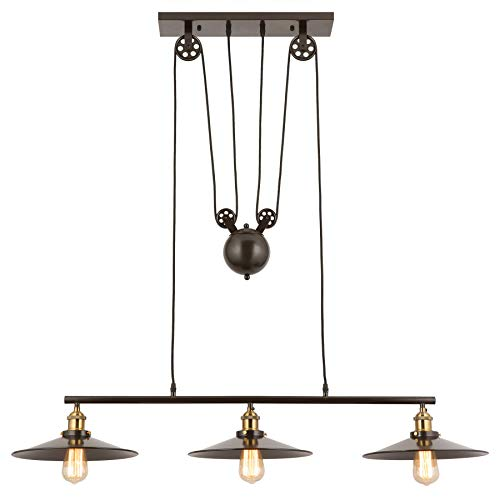 CO-Z Oil Rubbed Bronze 3 Light Linear Chandelier, Vintage