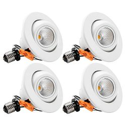 TORCHSTAR High CRI90+ 4 inch Dimmable Gimbal Recessed LED Downlight, 10W (75W Equiv) ENERGY STAR ...