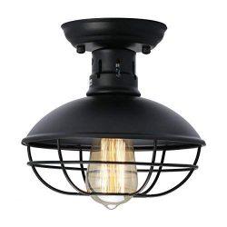 KingSo Industrial Metal Cage Ceiling Light, E26 Rustic Mini Semi Flush Mounted Pendant Lighting  ...