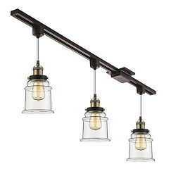 Kiven Set of 3 H-Type Track Lighting Pendants with Clear Glass Shade and LED Bulbs