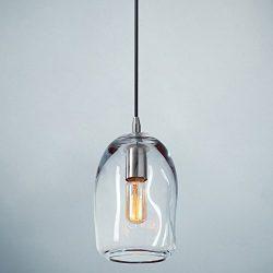 Casamotion Pendant Lighting Handblown Glass Drop Ceiling Lights, Organic Contemporary Style Hang ...
