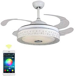 "Fandian 42"" Modern Ceiling Fans with Light Smart Bluetooth Music Player Chandelier 7 Color ..."