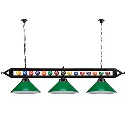 "59"" Metal Hanging Billiard Pool Table Lighting Fixture with 3 Lamp Shades- Available in Green &a ..."