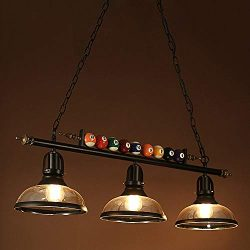 Ladiqi 3 Lights Island Light Hanging Pool Table Light Fixture Pendant Light with Clear Glass Sha ...