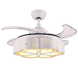 AorakiLights Invisible Ceiling Fans With Led Modern Household Crystal Fan Lights Retractable Bla ...