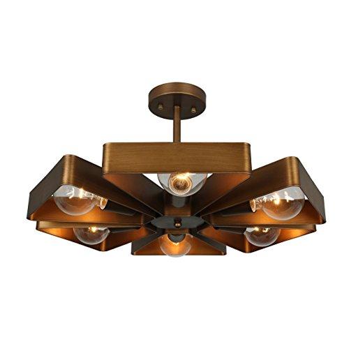 Barn Light Flush Mount: Unitary Brand Copper Vintage Barn Metal Floral Semi Flush