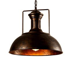 Lingkai Pendant Lighting Industrial Nautical Barn Pendant Light Single with Rustic Dome Bowl Sha ...
