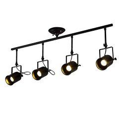 CGJDZMD intage 4-Heads Black Spotlight Light Antique Flush Mounted Wrought Iron Track Lighting F ...