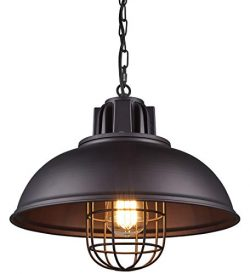Light Industrial Metal Pendant Lighting, Oil Rubbed Bronze Finish Pendant,Dimmable LED Bulb Incl ...