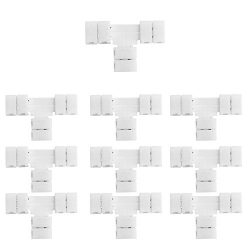 LightingWill 10pcs/Pack T Shape Solderless Snap Down 2Pin Conductor LED Strip Connector for Quic ...