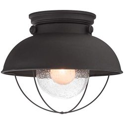 Kira Home Bayside 11″ Industrial Farmhouse Flush Mount Ceiling Light + Seeded Glass Shade, ...