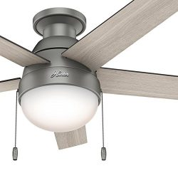 Hunter Fan 46 inch Low Profile Matte Silver Indoor Ceiling Fan with Light Kit and Remote Control ...
