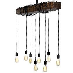 Farmhouse Style Light Fixture – Wrapped Wood Beam Antique Decor Chandelier Pendant Lightin ...