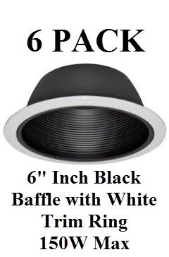"6"" INCH RECESSED LIGHTING BLACK BAFFLE WITH WHITE TRIM RING REPLACES HALO JUNO CAPRI – 150 ..."