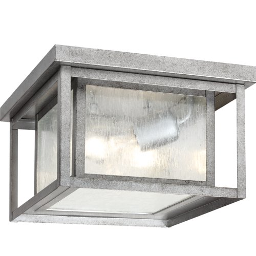 Sea Gull Lighting 78027-57 Outdoor Flush Mount with Clear SeededGlass Shades, Weathered Pewter  ...