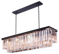 Saint Mossi Modern K9 Clear Crystal Bar Rectangle Raindrop Chandelier Lighting LED Ceiling Light ...