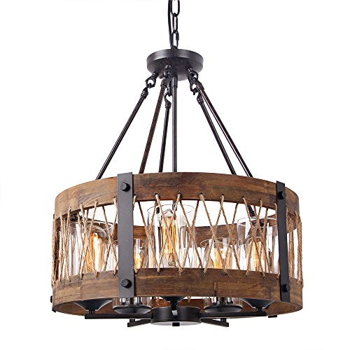 AnmytekRoundWoodenChandelierwithClearGlass Shade Rope and MetalPendant FiveLights Decora ...