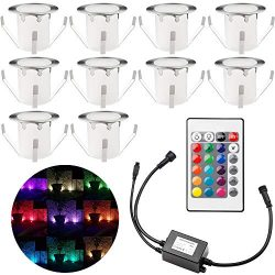 "Pack of 10 Multi Color Changing Deck Lights, ø1.18"" RGB LED Low Voltage Stair Light Kit wi ..."