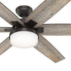Hunter Fan 64 inch Casual Nobel Bronze Indoor Ceiling Fan with Light Kit and Remote Control (Cer ...