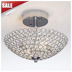 GLANZHAUS Hight Quality Mini Style Bowl Shaped Flush Mount Ceiling Fixture Chrome Finish Crystal ...