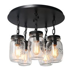 LNC A03221 5 Glass Mason Jar Flush Mount Close to Ceiling Light fixtures