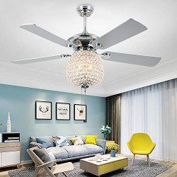 RainierLight Crystal 52″ Ceiling Fan with LED Light Kit 5 Wood Reversible Blades 3 Speed/S ...